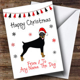 Doberman From Or To The Dog Pet Customised Christmas Card