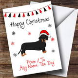 Daschund From Or To The Dog Pet Customised Christmas Card