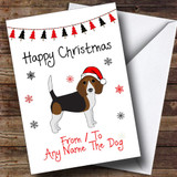 Dark Beagle From Or To The Dog Pet Customised Christmas Card