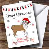 Bulldog From Or To The Dog Pet Customised Christmas Card