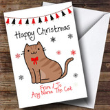 Brown Tabby From Or To The Cat Pet Customised Christmas Card