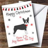 Boston terrier From Or To The Dog Pet Customised Christmas Card