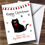 Black From Or To The Cat Pet Customised Christmas Card