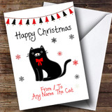 Black & White From Or To The Cat Pet Customised Christmas Card