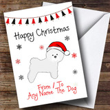 Bichon Frise From Or To The Dog Pet Customised Christmas Card