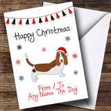 Basset Hound From Or To The Dog Pet Customised Christmas Card