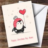 Love Heart Balloon Penguin Customised Christmas Card