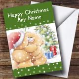 Cuddling Bears Green Christmas Card Customised
