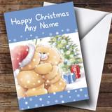 Cuddling Bears Blue Christmas Card Customised