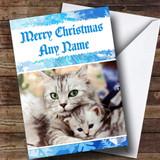 Cuddling Cats Romantic Customised Christmas Card