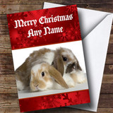 Cute Cuddly Rabbits Romantic Customised Christmas Card