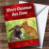 Rabbits Kissing Romantic Customised Christmas Card