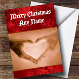 Love Heart Hands Romantic Customised Christmas Card