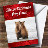 Cuddling Bears Romantic Customised Christmas Card