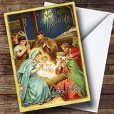 Nativity Scene Vintage Traditional Customised Christmas Card