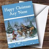 Santa And Horses Christmas Card Customised