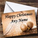Gold Glitter Ball Christmas Card Customised