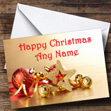 Gold And Red Baubles Christmas Card Customised