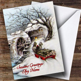 Horses & Cart Traditional Customised Christmas Card