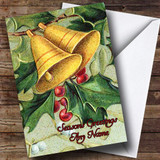 Holly & Bells Vintage Traditional Customised Christmas Card