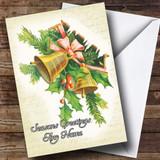 Golden Bells Vintage Traditional Customised Christmas Card