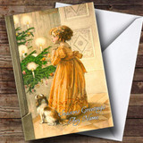 Girl & Dog Vintage Traditional Customised Christmas Card