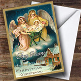 Angels At Night Vintage Traditional Customised Christmas Card