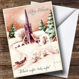 Church In Snow Vintage Traditional Customised Christmas Card