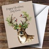 Christmas Reindeer Customised Christmas Card