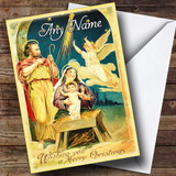 Angel Stable Scene Vintage Traditional Customised Christmas Card
