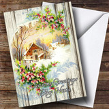 Wood Village Scene Vintage Traditional Customised Christmas Card