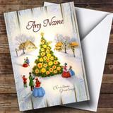 Wood Town Tree Vintage Traditional Customised Christmas Card