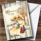 Wood Snow Scene Vintage Traditional Customised Christmas Card