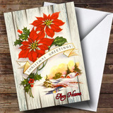 Wood Red Flower Vintage Traditional Customised Christmas Card
