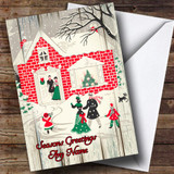 Wood Red Brick House Vintage Traditional Customised Christmas Card