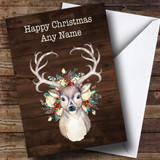 Wood Decorated Reindeer Customised Christmas Card