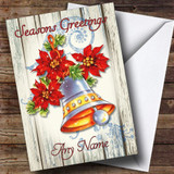 Wood Bell Vintage Traditional Customised Christmas Card