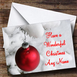 Red Xmas Bauble & Snow Customised Christmas Card