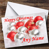 Red & Silver Xmas Baubles Customised Christmas Card
