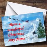 Reindeer And Xmas Snowman Customised Christmas Card