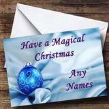 Blue Bauble & Silk Xmas Customised Christmas Card