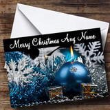 Xmas Blue Baubles & Silver Tinsel Customised Christmas Card