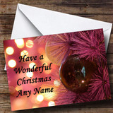 Xmas Purple Baubles And Lights Customised Christmas Card