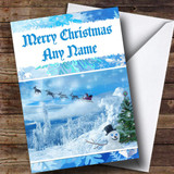 Snowman And Reindeer Customised Christmas Card