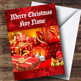 Red Wrapped Presents Customised Christmas Card