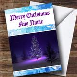 Purple Christmas Tree At Night Customised Christmas Card