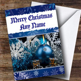 Blue Traditional Baubles Customised Christmas Card