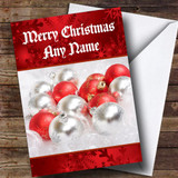 Red And Silver Baubles Customised Christmas Card