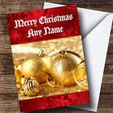 Gold Baubles Customised Christmas Card