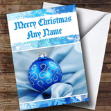 Pretty Blue Bauble Customised Christmas Card